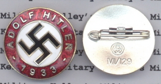 Adolf Hitler 1933 Party Badge