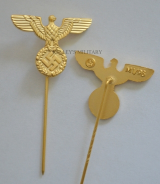 Nazi Party Eagle Stick Pin Badge - Gold